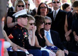 Benjamin's graveside service at Ft. Sam Houston in San Antonio, TX in October 2011. from Left, Benjamin's best friend and Marine escort, Jeremy Laster, Benjamin's sister Casey, Mom Becky, and her husband John Cheairs.